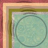 Kort med den hand målade runda prydnaden, 6 färger Fotografering för Bildbyråer