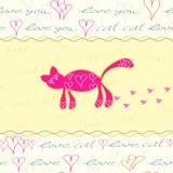 Kort med den hand tecknade rosa katten Royaltyfri Foto