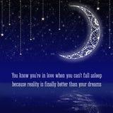 Kort med den mönstrade månen på natthimlen Arkivfoton