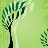 Kort med det stiliserade trädet på grungebakgrund, gulligt gräsplanabstrakt begreppträd Arkivfoton