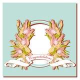 Kort med en bukett av tulpan på blåttram Royaltyfria Bilder