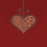 Kort med en hjärtagåva och idérika designbeståndsdelar Vektor Illustrationer