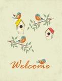 Kort med fågelhuset stock illustrationer