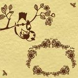 Kort med fågeln Royaltyfri Bild