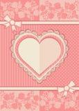 Kort med formen av hjärta Arkivfoto