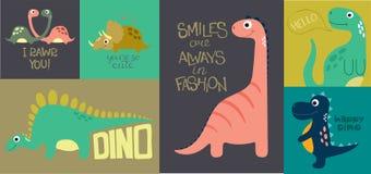 Kort med gulliga dino stock illustrationer
