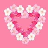 Kort med japan för körsbärsröd blomning i formen av en hjärtavektor Arkivfoton