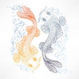Kort med japanska karpar stock illustrationer