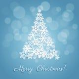 Kort med julgranen Arkivfoto