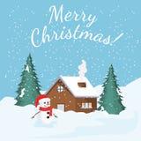 Kort med jullandskap vektor stock illustrationer