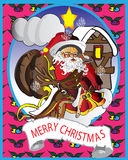 Kort med jultomten Royaltyfri Illustrationer