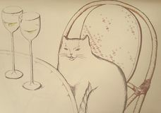 Kort med kafét i paris och katten bredvid tabellen Royaltyfria Foton