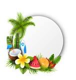 Kort med kokosnötcoctailen, skivavattenmelon, orange frukt och blommor Royaltyfri Bild