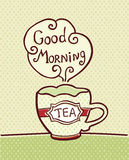 Kort med kopp te på texturerad bakgrund Royaltyfri Bild