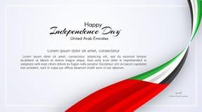 Kort med krabba bandfärger av nationsflaggan av Förenade Arabemiraten UAE med texten av den lyckliga nationella dagen vektor illustrationer