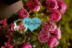 Kort med meddelandet 'förälskelse dig' som är handskriven Royaltyfri Bild