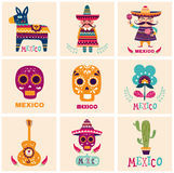 Kort med mexicanska symboler stock illustrationer