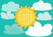Hälsningskort med Sun och moln royaltyfri illustrationer
