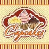 Kort med muffin vektor illustrationer