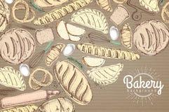 Kort med olikt snällt bröd Bästa sikt av bageriprodukter på papp Arkivbild