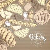 Kort med olikt snällt bröd Bästa sikt av bageriprodukter på papp Royaltyfria Bilder