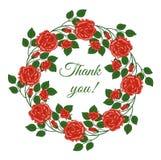 Kort med ord av tacksamhet i blom- ram Royaltyfri Bild