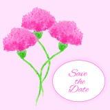 Kort med rosa blommor för vattenfärg Kan användas som en inbjudan Arkivfoto