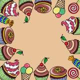Kort med sötsak-material Arkivbild