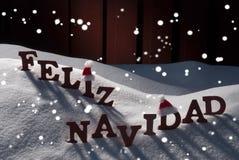 Kort med Santa Hat, snöflingor, Feliz Navidad Mean Christmas Royaltyfri Fotografi