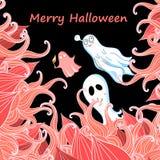 Kort med spökar för allhelgonaafton stock illustrationer