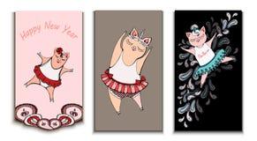 Kort med svinballerina, uppsättningen och tre kort stock illustrationer