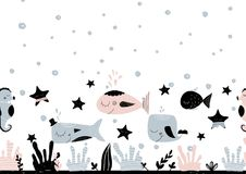 Kort med tomt utrymme för att märka med undervattens- varelser, stjärnor och havsbotten Vektorillustration i scandinavian Arkivfoton