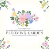 Kort med trädgårds- blommor Royaltyfri Fotografi