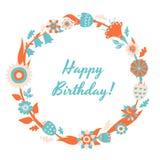 Kort och bakgrund för lycklig födelsedag för vektor med den blom- ramen royaltyfri illustrationer