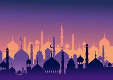 Kort och baner för Ramadankareemhälsning Islamisk lykta på bakgrund för måneabdstjärnor också vektor för coreldrawillustration royaltyfri illustrationer