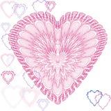 kort som greeting hjärtaform Arkivfoto