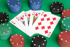 kort spolar poker straight Arkivfoton