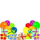 Kort till födelsedagen med ballonger och gåvor. vektor Royaltyfri Fotografi