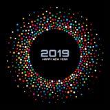 Kortbakgrund för nytt år 2019 Konfetticirkelgräns genom att använda textur för regnbågefärgprickar vektor vektor illustrationer