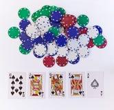 kortchiper som leker poker Royaltyfria Foton