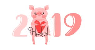 2019 kortdesign för lyckligt nytt år Vektorillustrationen med 2019 nummer och det söta svinet hälsar med förälskelse Diagram och royaltyfri illustrationer