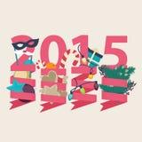 Kortdesign för nytt år 2015 stock illustrationer