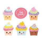 Kortdesignen för den lyckliga födelsedagen med muffin roliga Kawaii tystar ned med rosa kinder och blinkaögon, pastellfärgade fär royaltyfri illustrationer