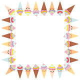 Kortdesignen för din text, banermall med den fyrkantiga ramen, kotte för Kawaii rolig glassdillande, tystar ned med rosa kinder o royaltyfri illustrationer