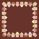 Kortdesignen för din text, banermall med den fyrkantiga ramen, muffin, tystar ned med rosa kinder och blinkaögon, pastellfärgade  royaltyfri illustrationer