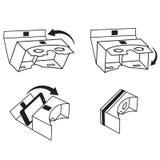 Korte Instructie voor VR-glazen/hoofdtelefoon voor Silhouetten van de smartphone de vectorillustratie stock foto