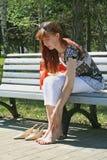 Korte rust voor benen Stock Foto