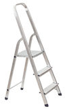Korte vouwende die ladder op wit wordt geïsoleerd Stock Foto