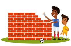 Korte Zuidamerikaanse Beeldverhaalvoetbalster die in geel overhemd op lange tegenstander letten bouw daadwerkelijke muur stock illustratie