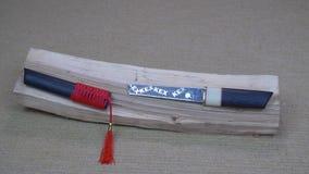 Korte zwaardtanto met houten handvat en schede met rode leeswijzer die op houten logboek liggen stock videobeelden
